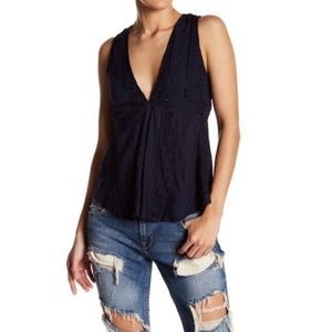 Free People V-Neck Embroidered BackTie Tank Navy S
